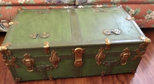 Antique steamer trunk ornate chest brass mounts Eagle lock green wood leather!