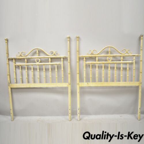 Chinese Chippendale Hollywood Regency Faux Bamboo Metal Twin Headboards - a Pair
