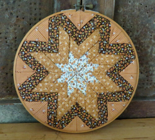 Quilted Star Primitive Country Farmhouse Quilt pc Orange Brown w Embroidery Hoop
