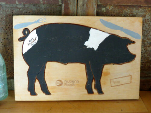 Nutrena Feeds Tylan Advertising Painted Pig Farmhouse Wood Cutting Board Signed