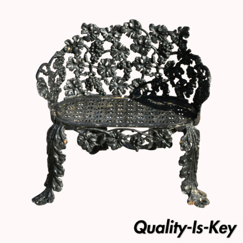 Antique Cast Iron Grapevine Leaf Small Garden Patio Outdoor Plant Stand Bench