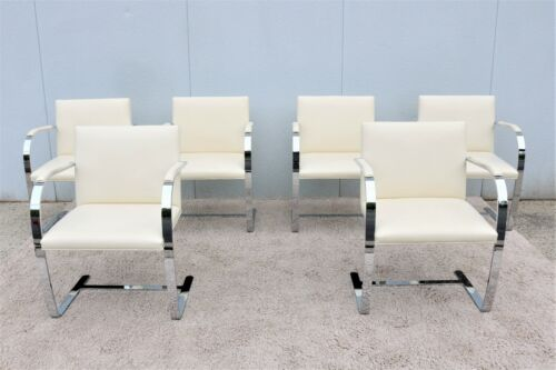 Ludwig Mies van der Rohe For Knoll Ivory Leather Flat Bar Brno Chairs - Set of 6
