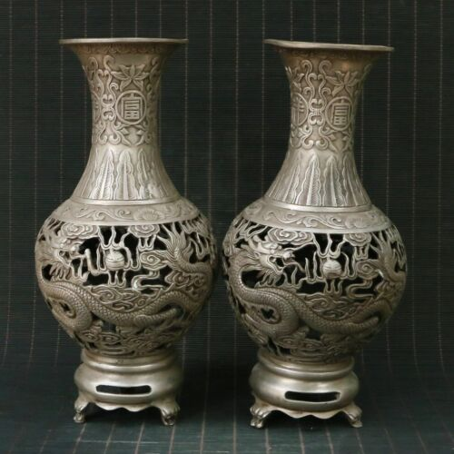 Chinese Exquisite silver Copper Handmade Dragon&Phoenix vase a pair 00501