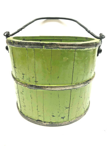 """Antique 7"""" tall by 8 /2"""" wide  Apple Green Wooden Bucket w Wrought Iron Handle"""