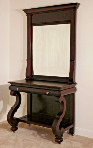 ANTIQUE Empire 1880s - 90s Flame Mahogany Ogee Pier Mirror Table & Mirror
