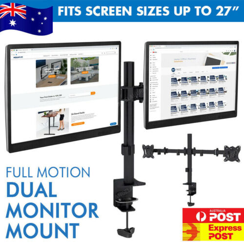 """Dual Monitor Desk Mount Heavy Duty Fully Adjustable Fits Screens 13"""" Up To 27"""""""