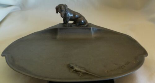 C. 1909 WMF GERMANY PEWTER CARD JEWELRY TRAY WITH  DOG & LIZARD BY E.V.OLMUTZ
