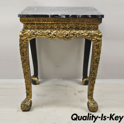"""Antique Chinese Gold Gilt Figural Carved Wood 30"""" Accent Side Occasional Table"""