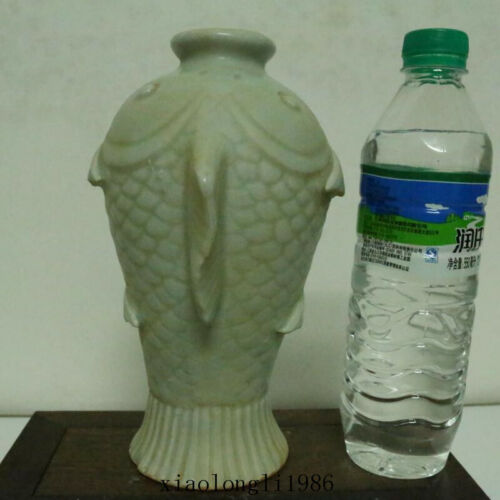 """8.8""""old China antique Song dynasty square carving fish patterns vase"""
