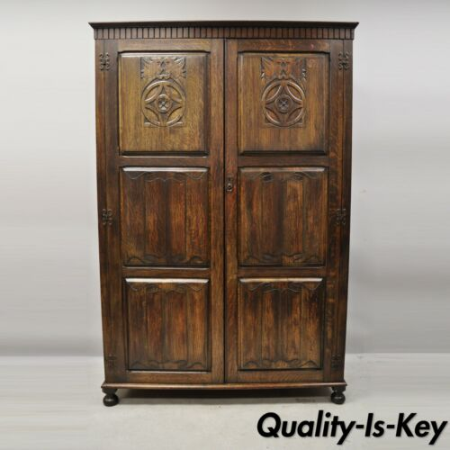 Antique Belgium Renaissance Jacobean Figural Carved Oak Large Wardrobe Cabinet