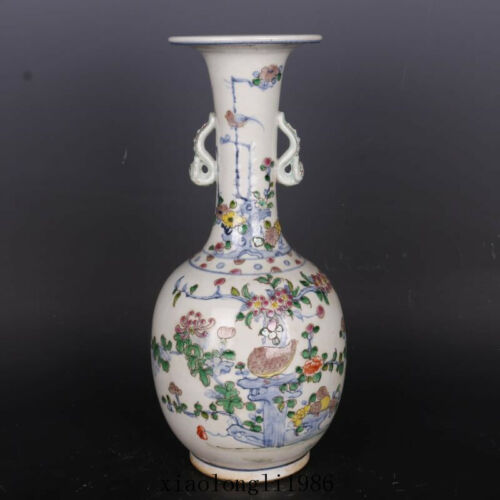 rare China antique Qing Dynasty Mark Blue and white Flower and bird pattern vase