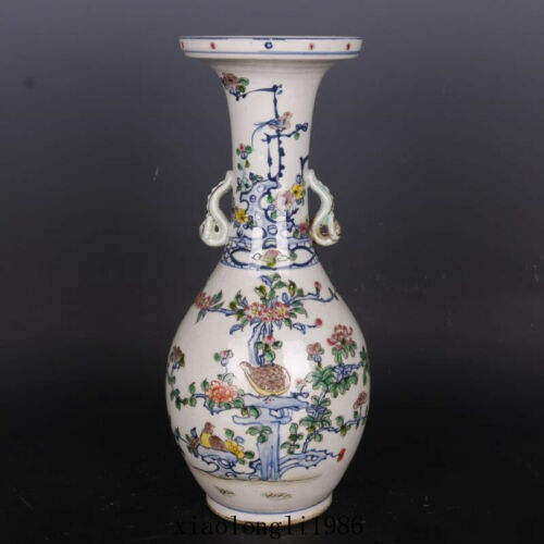 China antique Qing Dynasty Blue and white colourful Flower and bird pattern vase
