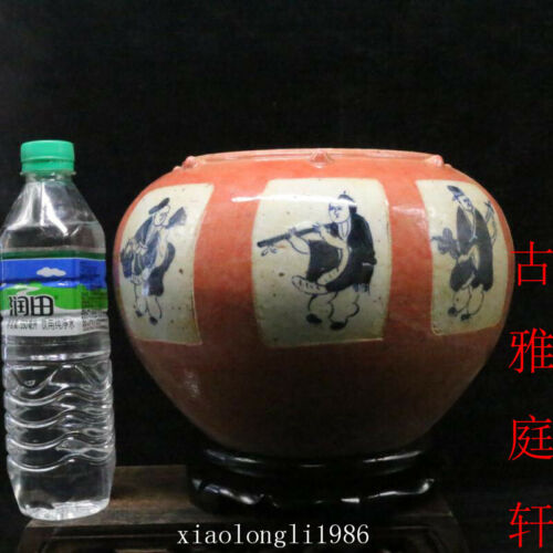 old China antique Qing Dynasty Blue and white Character story pattern fish tank