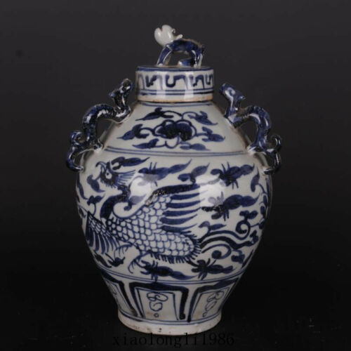 old China antique Yuan dynasty Blue and white Flower Phoenix pattern cover jar