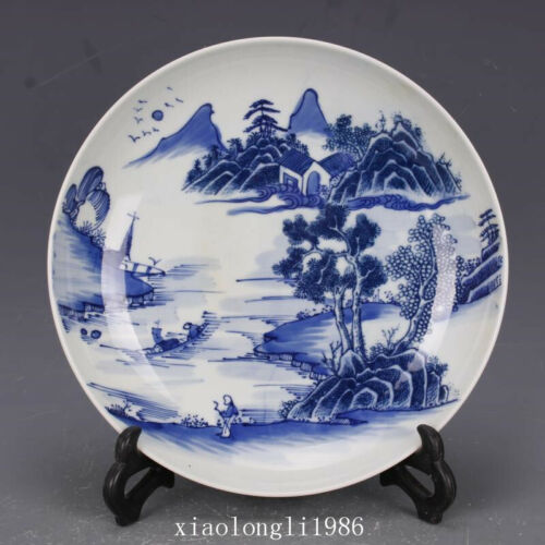 China antique Qing Dynasty Kangxi Blue and white landscape Figure pattern disc