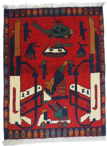 """29,9"""" x 23,2"""" hand-knotted War rug Afghanistan Panzer fighting jet USA Army 21/L"""
