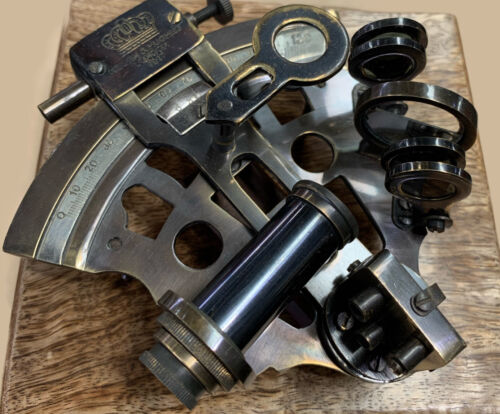 NAUTICAL BRASS SEXTANT WITH WOOD BOX PIRATE SAILORS STEAM PUNK SHIPS  MELBOURNE