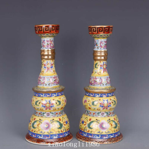 a pair old China antique Qing Dynasty Yongzheng Tracing gold Enamel Candlestick