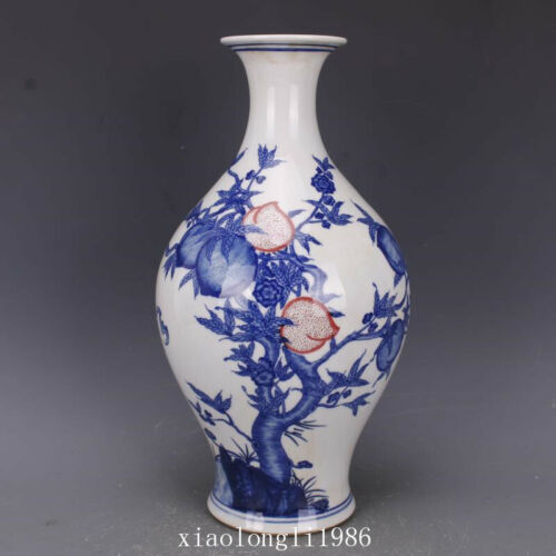 """14.4""""China antique Qing Dynasty Qianlong Logo Blue and white Peach pattern vase"""