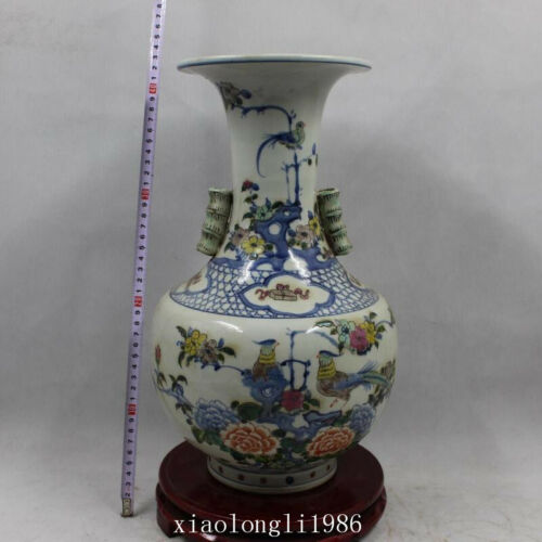 """16.6""""old China antique Qing Dynasty Blue and white colourful Phoenix peony vase"""