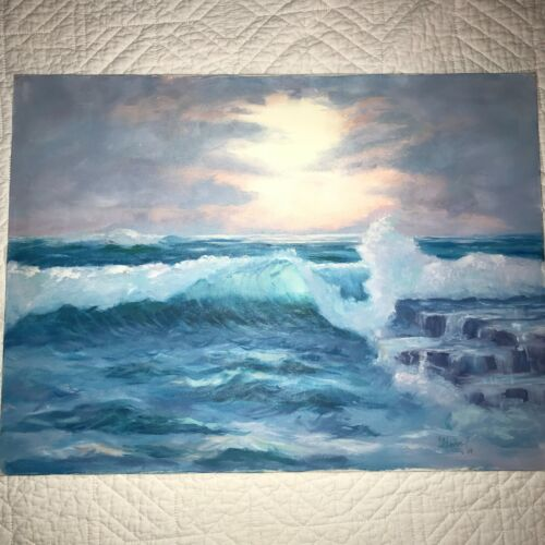 SUNSET seascape coast ocean hand painted oil original PAINTING waves signed 89