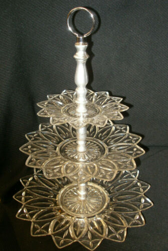 """VINTAGE 3 TIER CLEAR GLASS TIDBIT 16"""" TOWER SERVING TRAY by SCOTT CHRISTMAS TREE"""