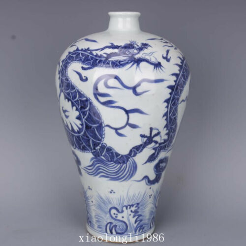 """13.3""""old China antique Yuan dynasty Blue and white seawater Dragon pattern vase"""