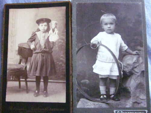 2 CDVs of Girl with Doll and Boy with Hoop Toy
