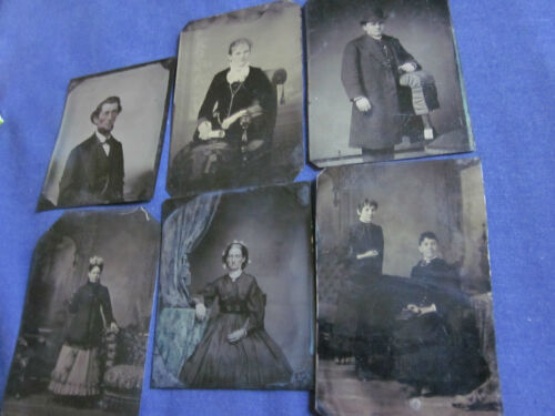 (6) Tintypes of Various Subjects Mostly 1/6 Plate #101015