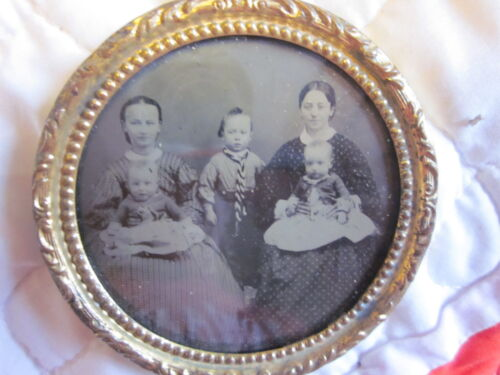 """3 1/8"""" Round Tintype of Family in Picture Frame Excellent"""
