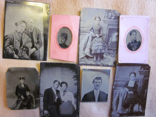 8 Tintypes Largest Being 1/6 Plate Good to Very Good #12244