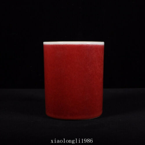 """4.8""""collection old China antique Qing Dynasty Red glaze pen container"""