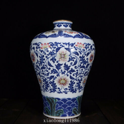 """11.2""""collection China old antique Qing Dynasty Blue and white Flower vase"""