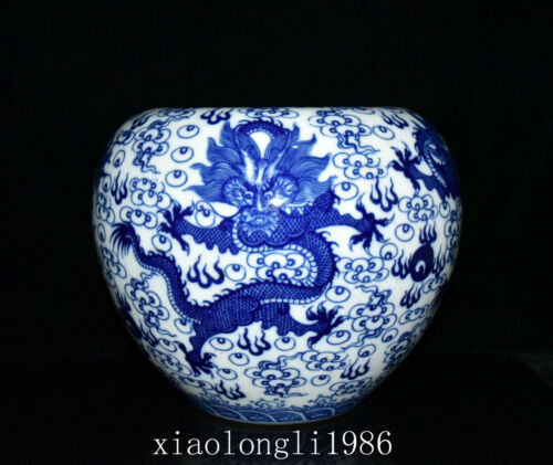 old China antique Qing Dynasty Qianlong Blue and white Dragon pattern Brush wash