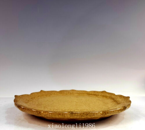 old China Song Dynasty Ancient porcelain Yellow glaze Kwaikou Porcelain plate
