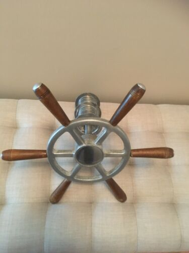 """16 1/2"""" ALUMINUM OLD 1940's -1950's """"WOODY"""" CABLE DRUM BOAT STEERING  WHEEL"""