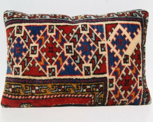 """Multi colored pillow Turkish rug pillow cover room art kilim area rugs 24""""x16"""""""
