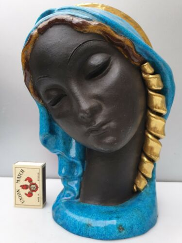 BLACK MADONNA VIRGIN MARY ART DECO WALL MASK CERAMIC SIGN ERA GOLDSCHEIDER LENCI