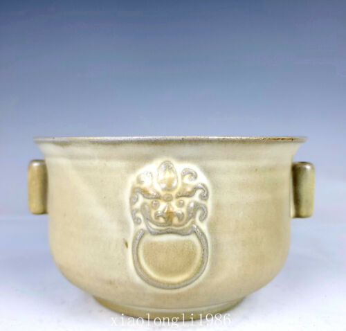 """5.7""""China Song Dynasty Ancient porcelain Celadon Animal ears Pen wash"""
