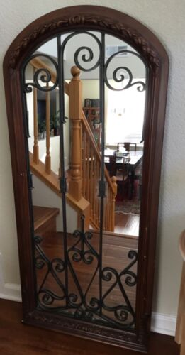 """Spanish wrought iron wood carved mirror bar Art Nouveau ornate baroque large 50"""""""