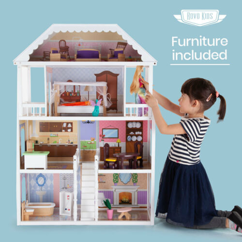 【EXTRA10%OFF】ROVO KIDS Wooden Doll House - Girls Large Toy Pretend Play <br/> 10% OFF. Use code MYTTAKE10. Ends 01/11. $150 Max disc.