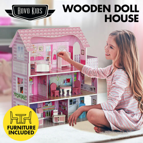 【EXTRA10%OFF】Wooden Doll House Girls Pretend Play Furniture 3 Level Large <br/> 10% OFF. Use code MYTTAKE10. Ends 01/11. $150 Max disc.