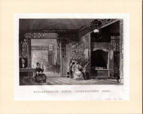 Boudoir and bedchamber of a lady of rank, Antique views of China 1845