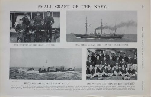 1902 Estampado Pequeño Craft Of The Navy Sloop Condor Oficiales & Crew BansheeOtros - 13981