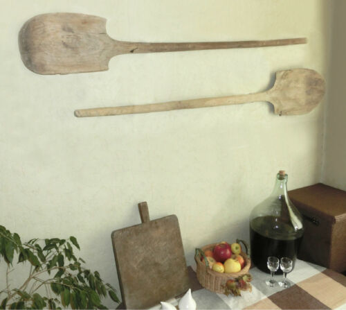 "Pair 50"" oversized Primitive 1800's Bakery dough Bread Wooden board Paddle Peel"