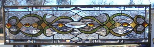 Stained Glass Transom window hanging 36 1/4 X 10 1/2 Brass Frame (edging)