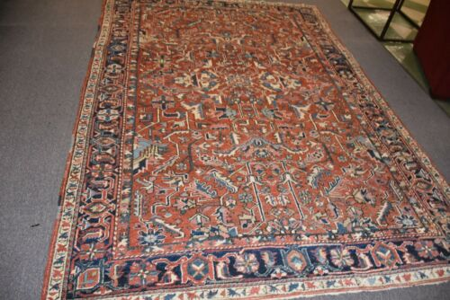 Antique Heriz Serapi Rug  Lovely Carpet Rare Size 6.8 x 9.9 #11521
