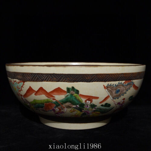 """16""""China antique Ming Dynasty Multicolored Character story pattern bowl"""