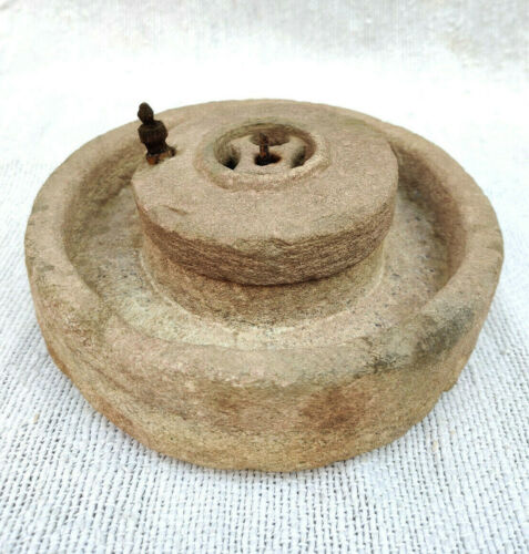 Antique Rare Handmade Small Red Stone Flour Hand Mill Old Stoneware Collectible