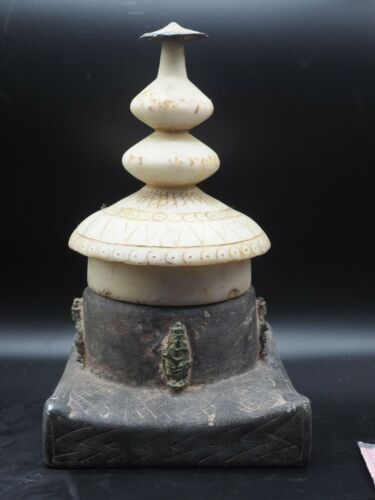 Ancient kingdom of Gandhara stupa with 4 bronze Buddah attached marble top #A700